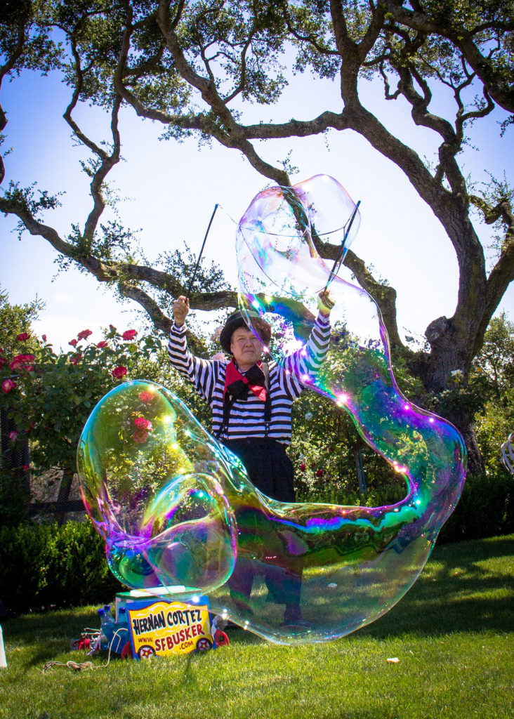 Giant colorful bubble making.