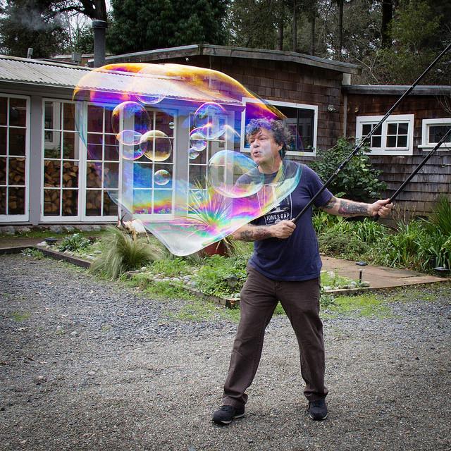 Practicing bubble tricks.