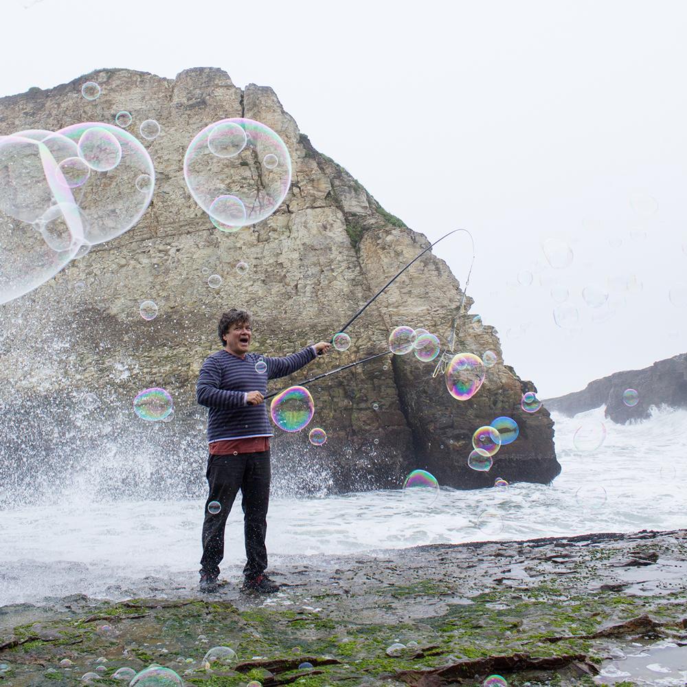 Bubbles for fun at Davenport Beach.